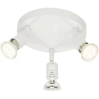 BRILLIANT Lampe Loona LED Spotrondell 3flg hvid | 3x LED-PAR51, GU10, 3W LED reflektorlamper medfølger (250lm, 3000K) |