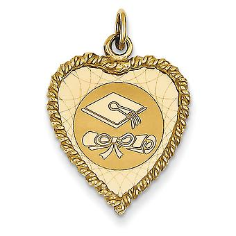 14 k giallo oro massiccio lucidato Engravable Graduation Cap fascino - 1,8 grammi - misure 27.6x18.8mm
