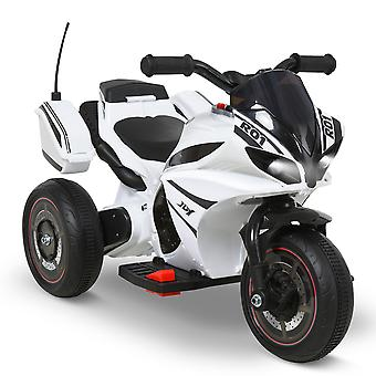 HOMCOM Kids Electric Ride On Motorcycle 6V Battery Powered Electric Trike Toys 18-36 Months Old with Light Music Storage Box White Black
