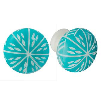 Nicola Spring Hars Kast Lade Knoppen - Turquoise - Pack Of 6