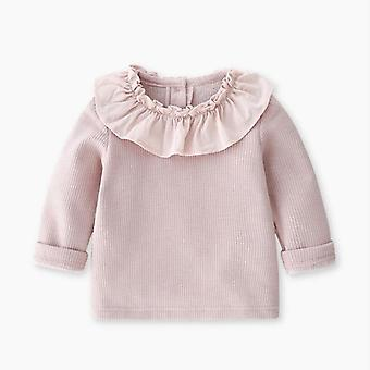 Ruffles Lace Shirt- Spring Autumn Winter Kids Bottom Shirts For Girls Cotton Tops Children Clothes