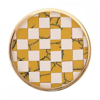 Nikki Lissoni Mostarda / Mosaico de Pedra Branca Médio Ouro Banhado Moeda C1230GM