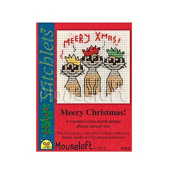 Meerkats - Stitchlets Small Christmas Counted Cross Stitch Card Making Kit