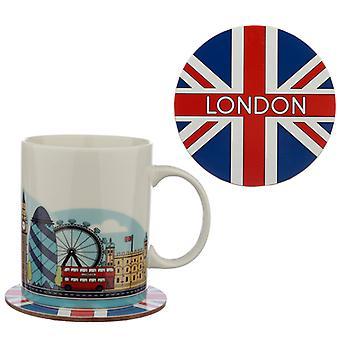 磁器マグカップとコースターギフトセット - ロンドンアイコンX 1パック