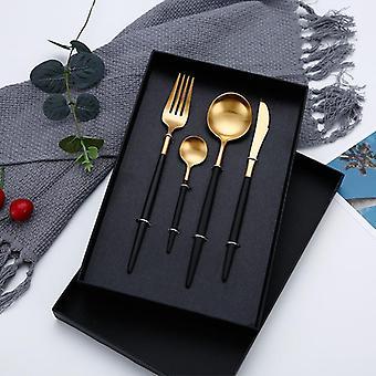 4pcs/set Designer Cutlery, Fork, Faca, Colher - Conjunto de Louças de Aço Inoxidável