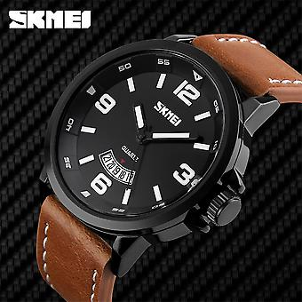 Skmei Mens Watch Classic Black Dial Genuine Leather Strap Date Display Window SK9115