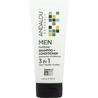 Andalou Naturals Men Fortifying Shampoo + Conditioner 3 IN 1, 8.5 Oz