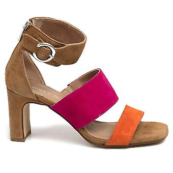 Janet & Janet Rosy Brown Suede Sandal, Fuxia E Orange