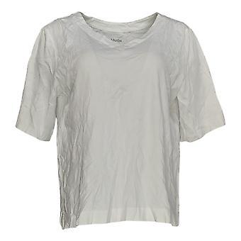 Martha Stewart Women'top V-neck Elbow-Sleeve Branco A351511