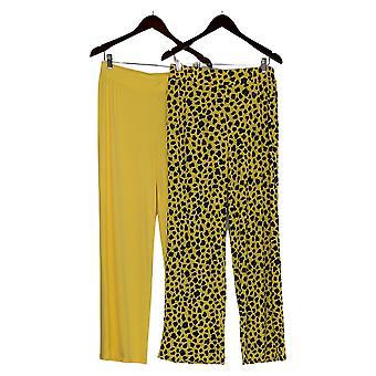 IMAN Global Chic Women's Pants Solid/Print 2-Pack Palazzo Yellow 685-966