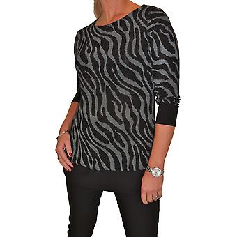 Women's Stretch Shimmer Sparkle Zebra Animal Print Tunic Ladies Casual 3/4 Length Sleeve Top 10-22