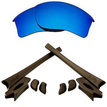 Replacement Lenses Kit for Oakley Flak Jacket XLJ Blue Mirror Brown Anti-Scratch Anti-Glare UV400 by SeekOptics