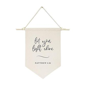 Let Your Light Shine, Matthew 5:16 Cotton Canvas Scripture, Hanging Wall Banner