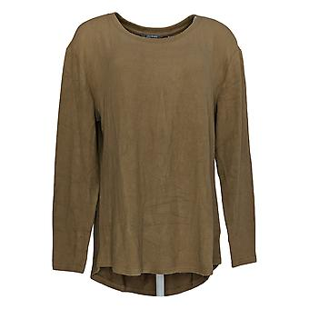 Lisa Rinna Collection Women's Top Curved Hem Long Sleeve Beige A341720