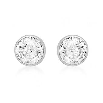 Eternity 9ct White Gold 4mm Small Round Cubic Zirconia Rubover Stud Boucles d'oreilles