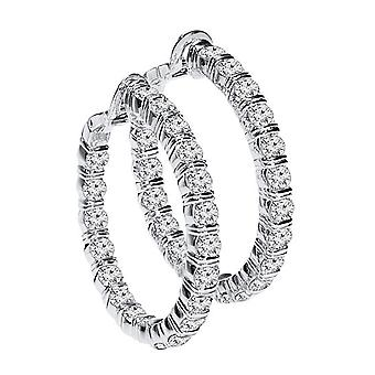 1.50 Boucles d'oreilles Carat Diamond Hoop Or blanc
