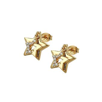 Ohrstecker zwei Sterne mit Zirkonia 3 Mikron Gold Plating