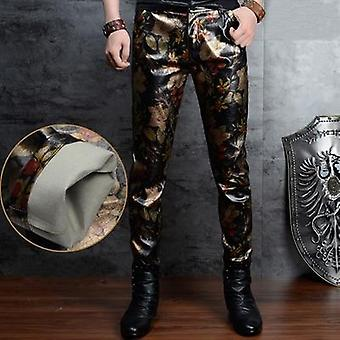 Skinny Leather Men Korean Fashion Slim Nightclub Leather Pants Trousers