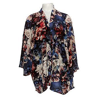 Laurie Felt Women's Plus Sweater Open Front Printed Kimono Blue A309543