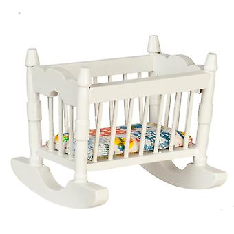 Dolls House Miniature 1:12 Mobilier de pépinière White Wood Rocking Cradle Cot Crib