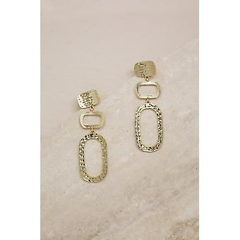 Textured Geometric 18k Gold Plated Rectangle Drop Earrings