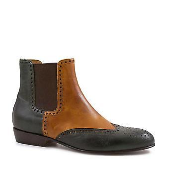 Leonardo Shoes Brogue chelsea boots women handmade green/tan leather