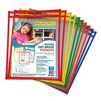 Reusable Dry Erase Pockets, Primary Colors, 9 X 12, Pack Of 10