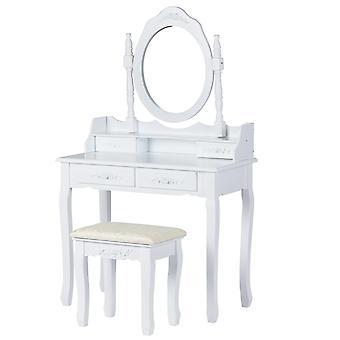 Puinen pukeutumispöytä - klassinen valkoinen - peilillä ja jakkaralla - 70x40x136 cm