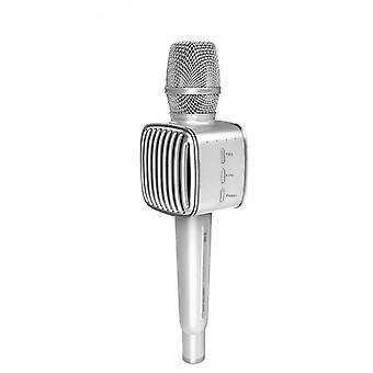 Karaoke-Mikrofon drahtlos mit Bluetooth-Lautsprecher Silber