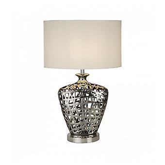Large Network Table Lamp - Chrome Die-cut Base With White Oval Shade