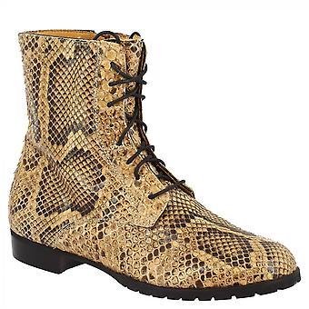 Leonardo Skor Kvinnor & s handgjorda runda tå lace-ups kängor i brunt python läder med sidan zip stängning