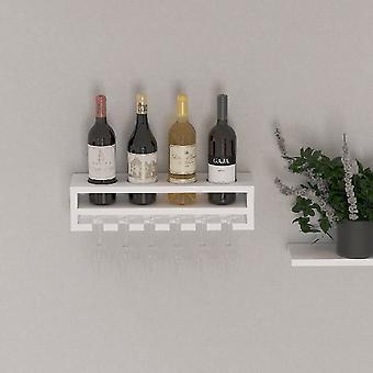 Rack de garrafa de madeira branco poseidon, L48xP13.8xA12 cm