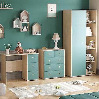 Neptune 3 Piece Bedroom Furniture Set Desk, Chest of Drawers, Wardrobe Two-tone, Blue & Oak
