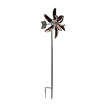 Copper Finish Double Pinwheel Wind Spinner Garden Stake