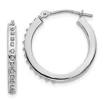 14k White Gold Polished Diamond Fascination Round Hinged Hoop Earrings Measures 21x2mm Jewelry Gifts for Women