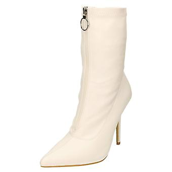 Koi Footwear High Heel Stiletto Mid Calf Boots Pointed Toe White