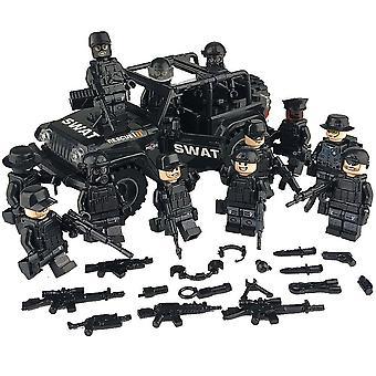 軍特殊部隊兵士レンガフィギュア、車、銃、武器、武装スワット