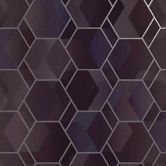 Asik Geo Purple Silver Wallpaper