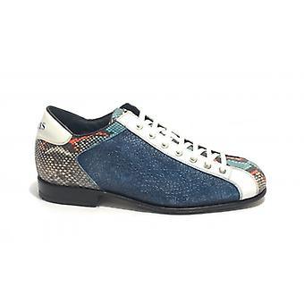 Men's Shoes Harris Bottom White Leather Crack Blue Navy Race Effect/ Pit Pessoa/ White U17ha111