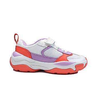 Clarks Kuju Run Kids Lilac Combi Leather Childrens Trainers