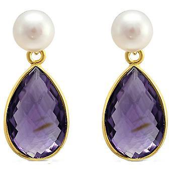 Pearls of the Orient Clara Freshwater Pearl Amethyst Drop Earrings - Purple