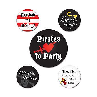 Botones de fiesta pirata (Pack de 12)