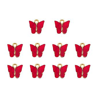4-10pcs Multicolor Acrylic Butterfly Pendant Charm Set For Jewelry Making