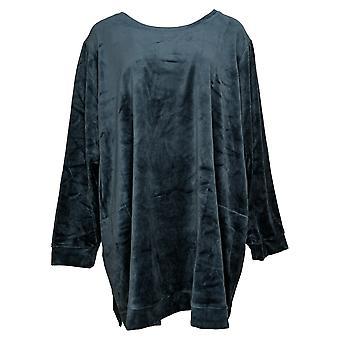 Felpa da donna in denim & co. più tasche in tunica in velluto blu A390299