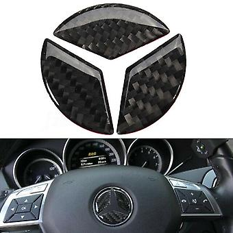 45mm Carbon Fiber Mercedes Benz Steering Wheel Sticker Decal Emblem Badge
