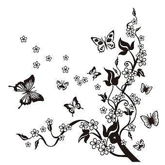 Regenboghorn Black Floral Butterfly Wall Decal Sticker