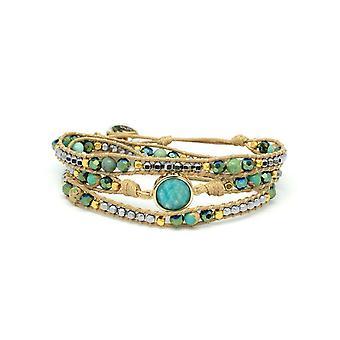 Boho betty america teal amazonite gemstone wrap bracelet