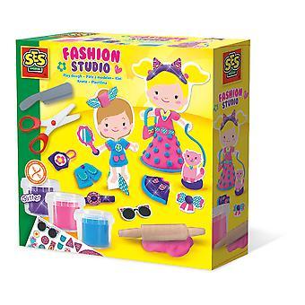 SES Creative - Children's Modelling Dough Fashion Studio Set 3 Pots (Multi-colour)