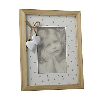 Wood And White Spotty Frame With Hearts By Heaven Sends