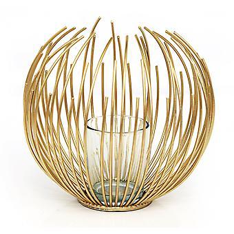 Porte-bougie en fil d'or 16cm